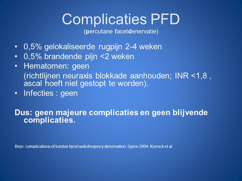 Complicaties PFD (percutane facetdenervatie) 0,5% gelokaliseerde rugpijn 2-4 weken 0,5% brandende pijn <2 weken Hematomen: geen (richtlijnen neuraxis