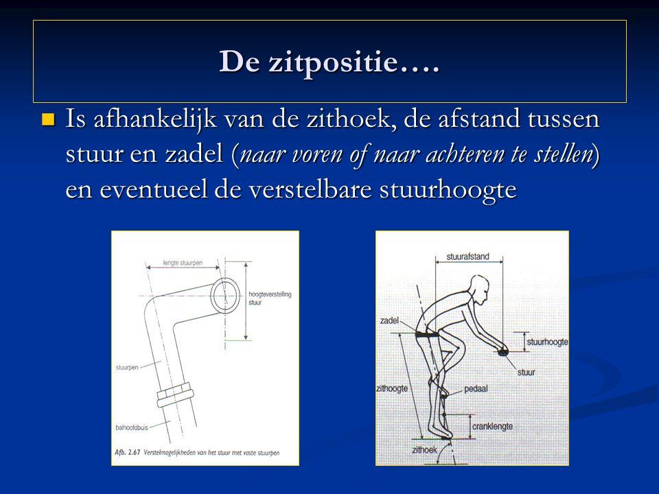 De zitpositie…. Is afhankelijk van de zithoek, de afstand tussen stuur en zadel (naar voren of naar achteren te stellen) en eventueel de verstelbare s
