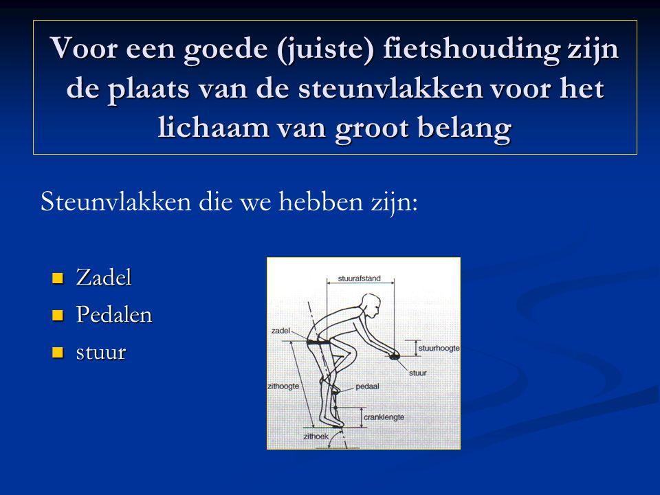 Voor een goede (juiste) fietshouding zijn de plaats van de steunvlakken voor het lichaam van groot belang Zadel Zadel Pedalen Pedalen stuur stuur Steu