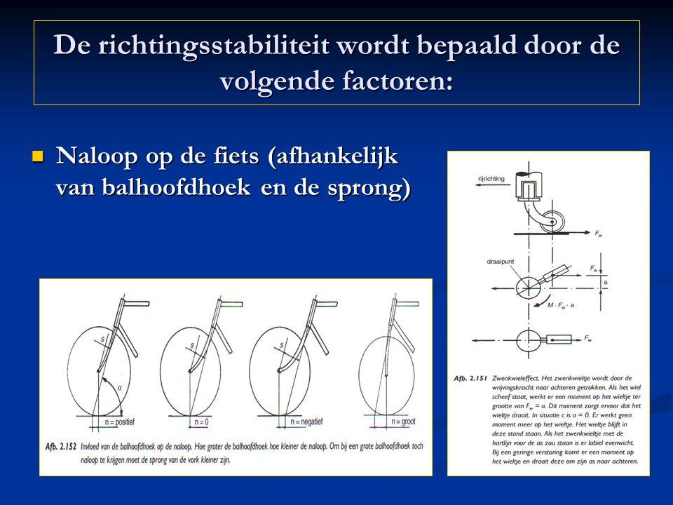 De richtingsstabiliteit wordt bepaald door de volgende factoren: Naloop op de fiets (afhankelijk van balhoofdhoek en de sprong) Naloop op de fiets (af