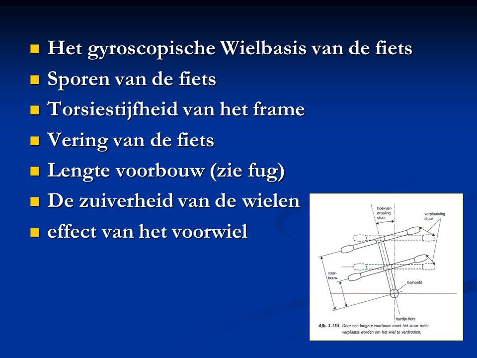 Het gyroscopische Wielbasis van de fiets Het gyroscopische Wielbasis van de fiets Sporen van de fiets Sporen van de fiets Torsiestijfheid van het fram