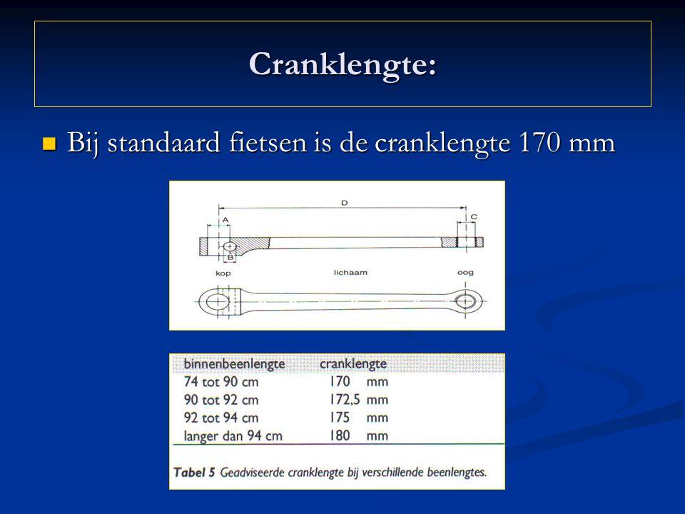 Cranklengte: Bij standaard fietsen is de cranklengte 170 mm Bij standaard fietsen is de cranklengte 170 mm