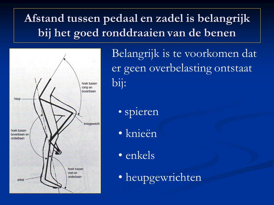 Afstand tussen pedaal en zadel is belangrijk bij het goed ronddraaien van de benen Belangrijk is te voorkomen dat er geen overbelasting ontstaat bij: