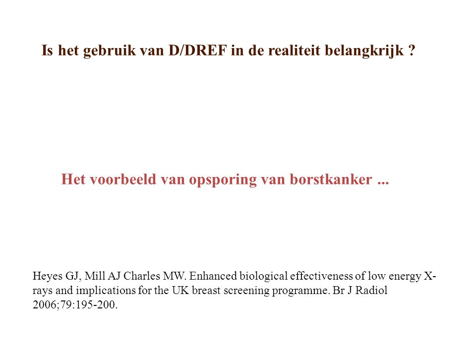 Is het gebruik van D/DREF in de realiteit belangkrijk .