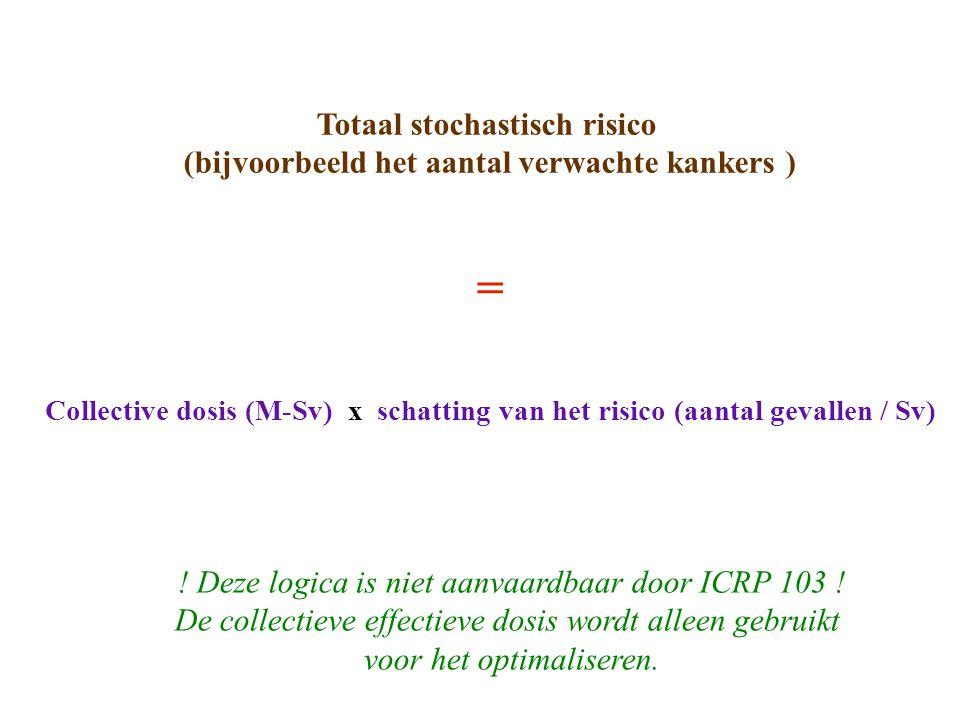 Totaal stochastisch risico (bijvoorbeeld het aantal verwachte kankers ) = Collective dosis (M-Sv) x schatting van het risico (aantal gevallen / Sv) .