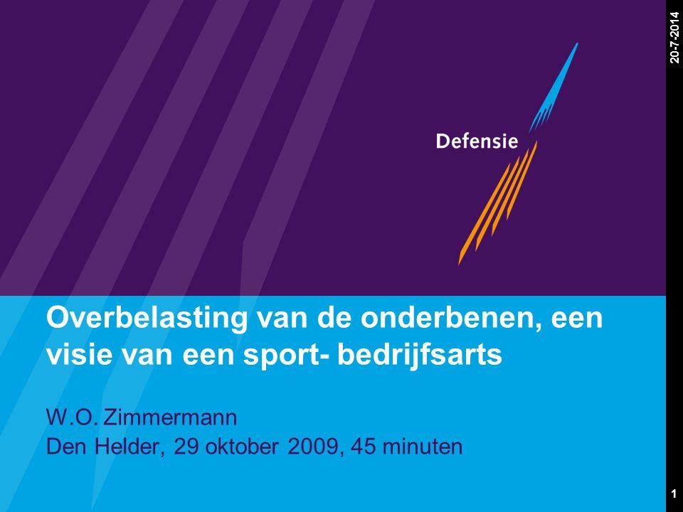 1 20-7-2014 Overbelasting van de onderbenen, een visie van een sport- bedrijfsarts W.O. Zimmermann Den Helder, 29 oktober 2009, 45 minuten