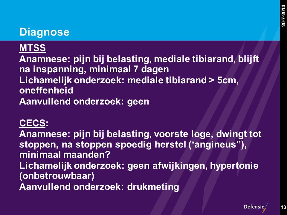 20-7-2014 13 Diagnose MTSS Anamnese: pijn bij belasting, mediale tibiarand, blijft na inspanning, minimaal 7 dagen Lichamelijk onderzoek: mediale tibi