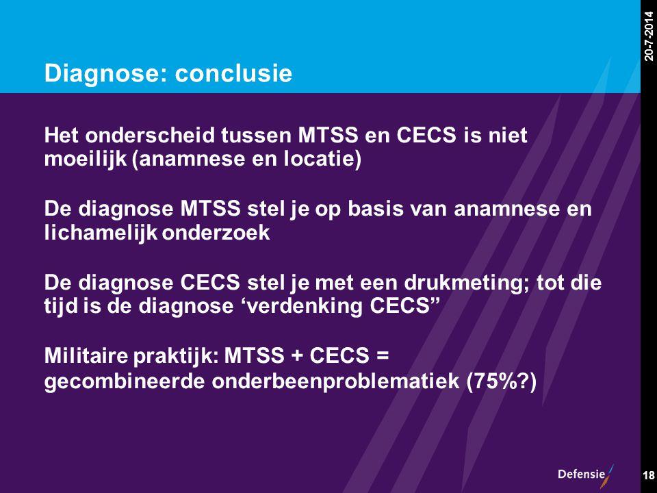 20-7-2014 18 Diagnose: conclusie Het onderscheid tussen MTSS en CECS is niet moeilijk (anamnese en locatie) De diagnose MTSS stel je op basis van anam