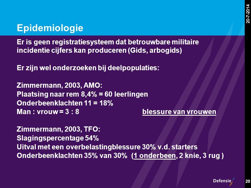 20-7-2014 20 Epidemiologie Er is geen registratiesysteem dat betrouwbare militaire incidentie cijfers kan produceren (Gids, arbogids) Er zijn wel onde