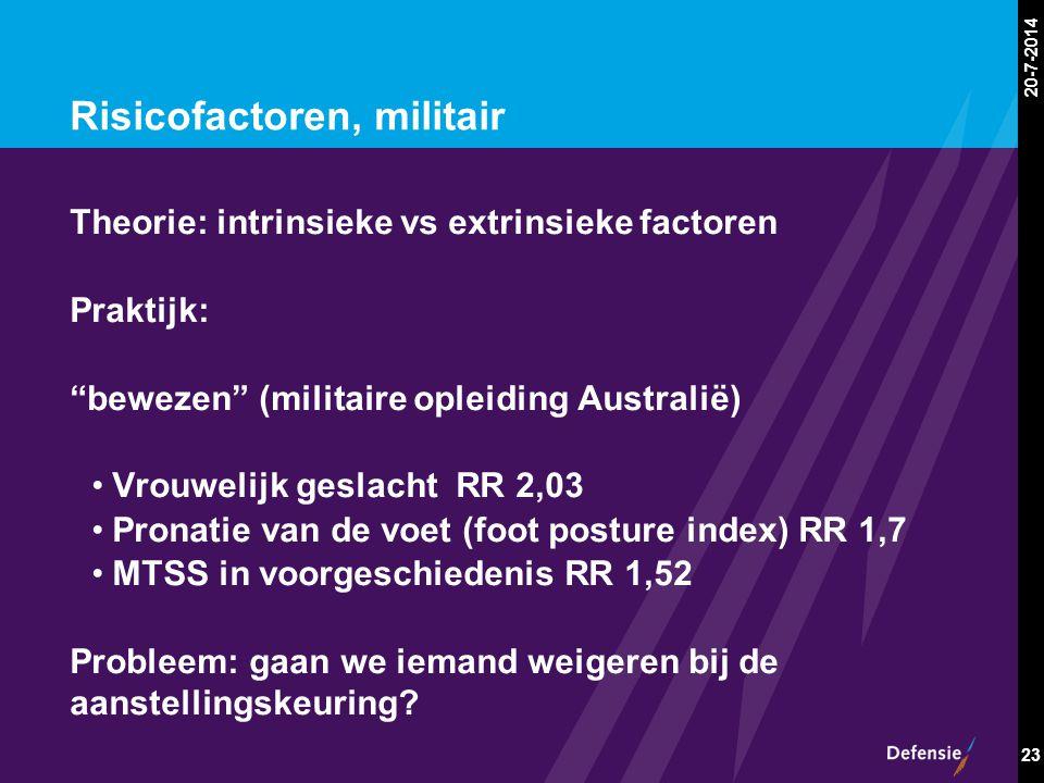 """20-7-2014 23 Risicofactoren, militair Theorie: intrinsieke vs extrinsieke factoren Praktijk: """"bewezen"""" (militaire opleiding Australië) Vrouwelijk gesl"""