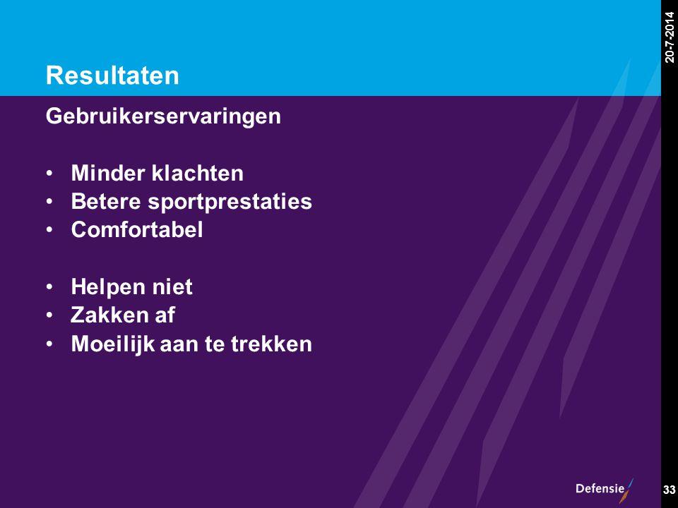 20-7-2014 33 Resultaten Gebruikerservaringen Minder klachten Betere sportprestaties Comfortabel Helpen niet Zakken af Moeilijk aan te trekken