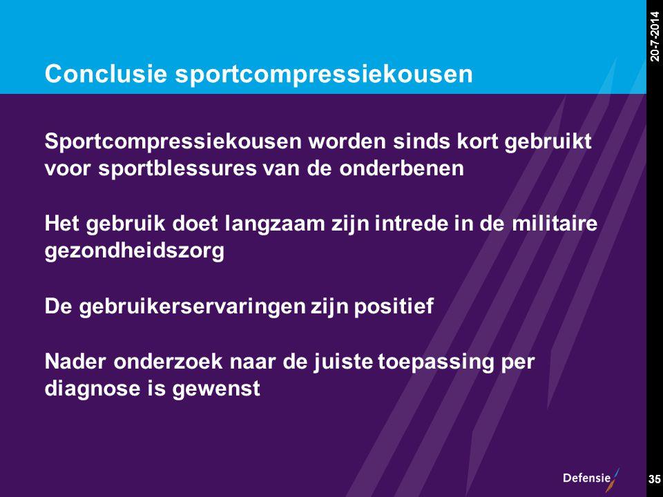 20-7-2014 35 Conclusie sportcompressiekousen Sportcompressiekousen worden sinds kort gebruikt voor sportblessures van de onderbenen Het gebruik doet l