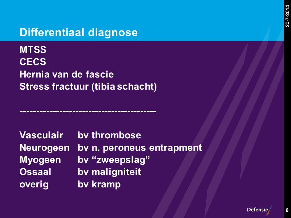 20-7-2014 6 Differentiaal diagnose MTSS CECS Hernia van de fascie Stress fractuur (tibia schacht) ------------------------------------------ Vasculair
