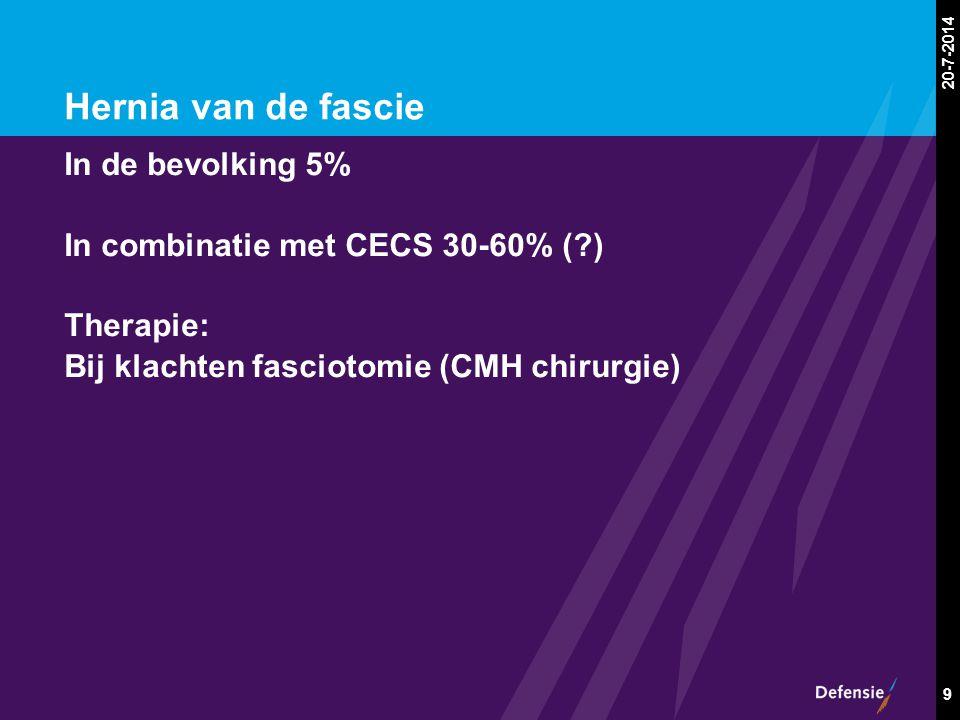 20-7-2014 9 Hernia van de fascie In de bevolking 5% In combinatie met CECS 30-60% (?) Therapie: Bij klachten fasciotomie (CMH chirurgie)