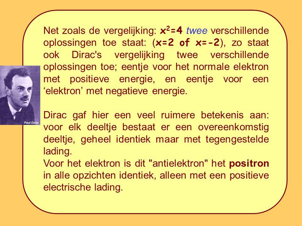 Net zoals de vergelijking: x 2 =4 twee verschillende oplossingen toe staat: ( x=2 of x=-2 ), zo staat ook Dirac s vergelijking twee verschillende oplossingen toe; eentje voor het normale elektron met positieve energie, en eentje voor een 'elektron' met negatieve energie.