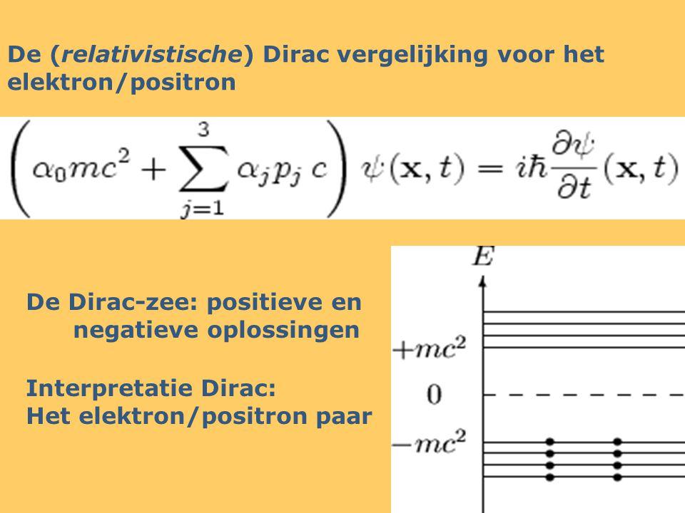 De (relativistische) Dirac vergelijking voor het elektron/positron De Dirac-zee: positieve en negatieve oplossingen Interpretatie Dirac: Het elektron/positron paar