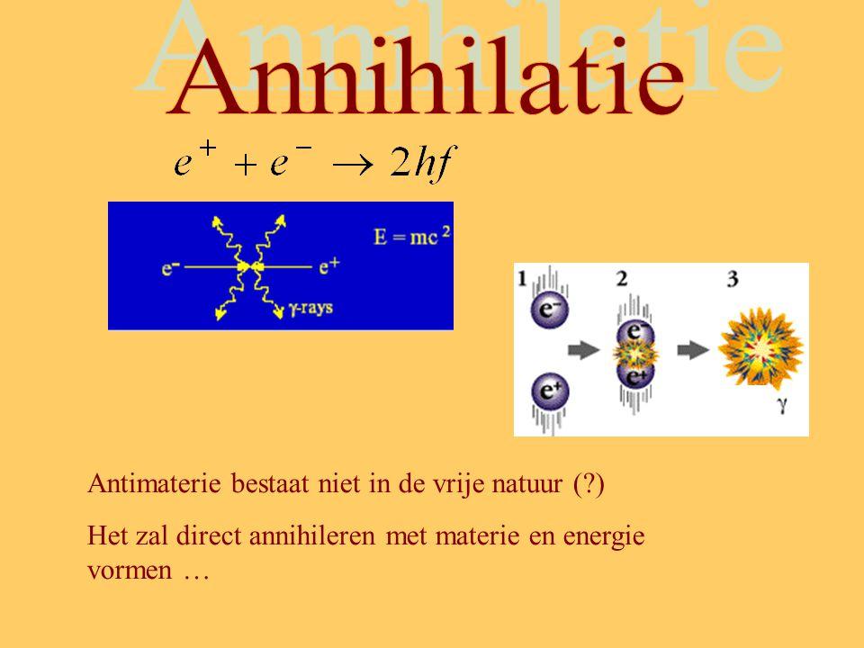 Antimaterie bestaat niet in de vrije natuur (?) Het zal direct annihileren met materie en energie vormen …