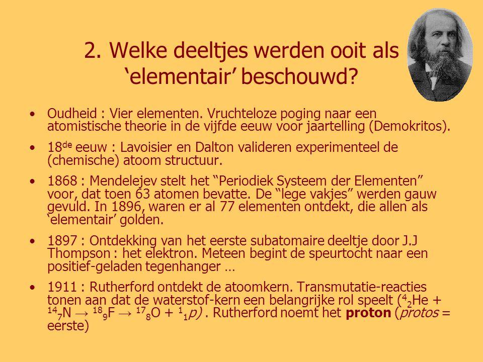 2.Welke deeltjes werden ooit als 'elementair' beschouwd.