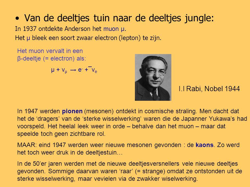 Van de deeltjes tuin naar de deeltjes jungle: In 1937 ontdekte Anderson het muon μ.