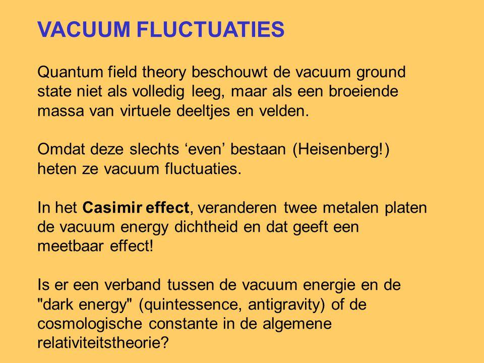 VACUUM FLUCTUATIES Quantum field theory beschouwt de vacuum ground state niet als volledig leeg, maar als een broeiende massa van virtuele deeltjes en velden.