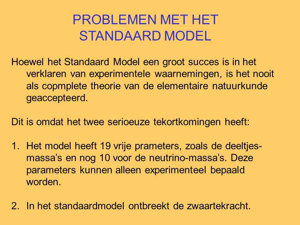 PROBLEMEN MET HET STANDAARD MODEL Hoewel het Standaard Model een groot succes is in het verklaren van experimentele waarnemingen, is het nooit als copmplete theorie van de elementaire natuurkunde geaccepteerd.