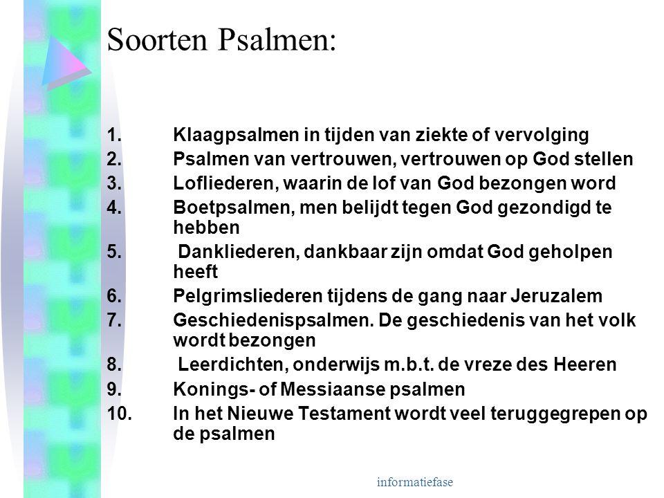 informatiefase Soorten Psalmen: 1.Klaagpsalmen in tijden van ziekte of vervolging 2.