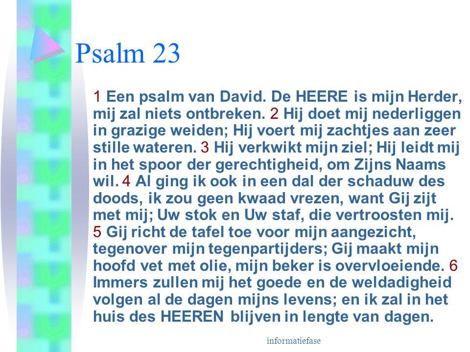 informatiefase Psalm 23 1 Een psalm van David.De HEERE is mijn Herder, mij zal niets ontbreken.