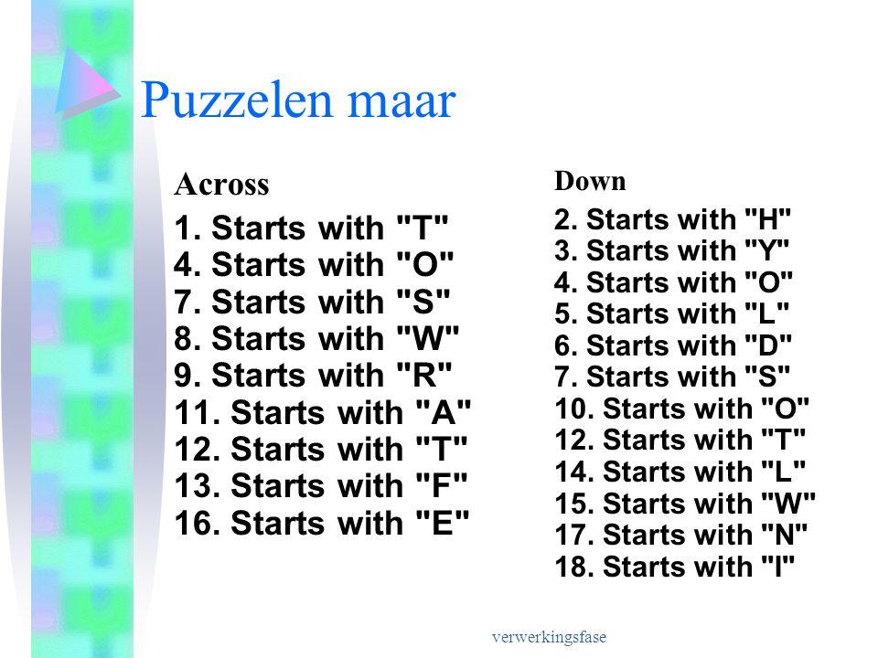verwerkingsfase Puzzelen maar Across 1.Starts with T 4.