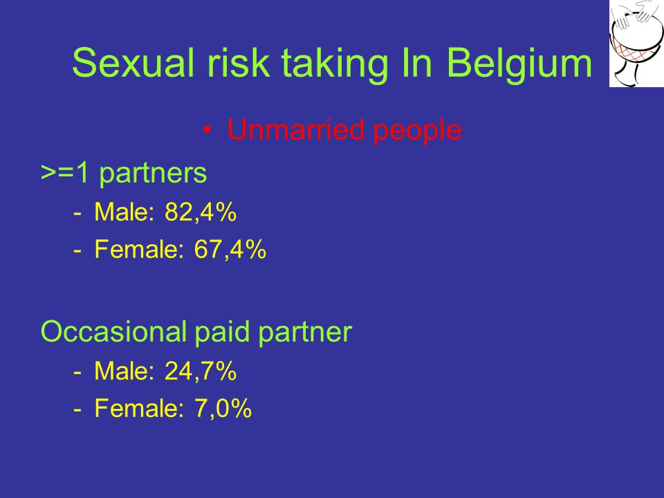 Sexual risk taking In Belgium Unmarried people >=1 partners -Male: 82,4% -Female: 67,4% Occasional paid partner -Male: 24,7% -Female: 7,0%