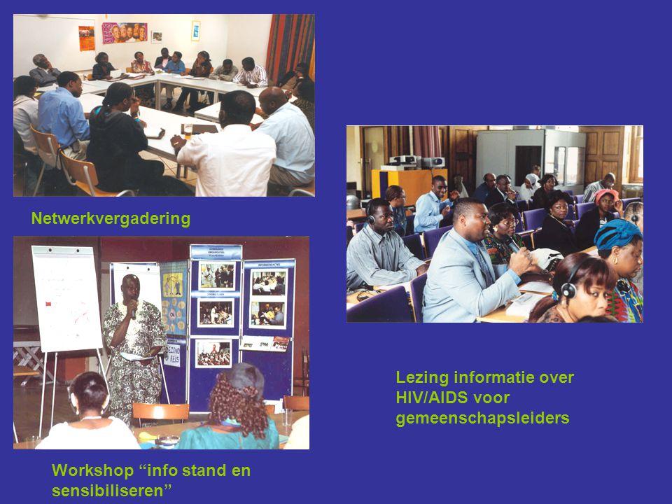 Netwerkvergadering Lezing informatie over HIV/AIDS voor gemeenschapsleiders Workshop info stand en sensibiliseren