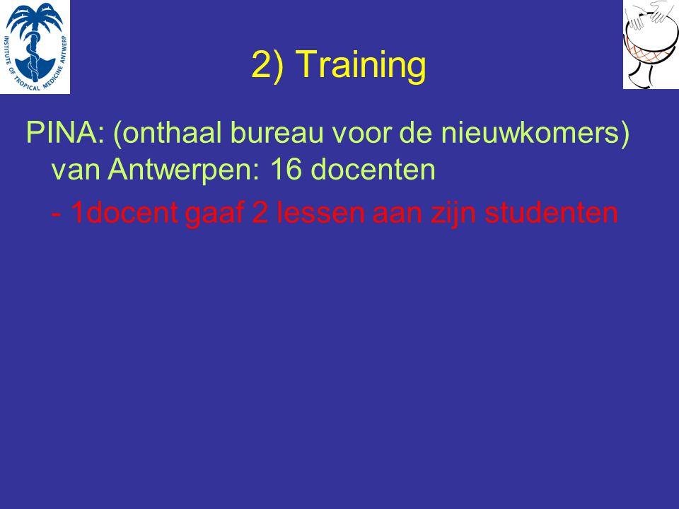 2) Training PINA: (onthaal bureau voor de nieuwkomers) van Antwerpen: 16 docenten - 1docent gaaf 2 lessen aan zijn studenten