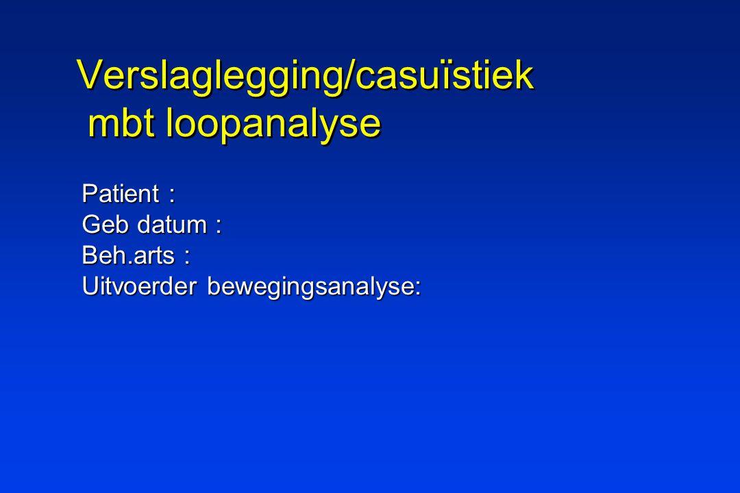 Verslaglegging/casuïstiek mbt loopanalyse Patient : Geb datum : Beh.arts : Uitvoerder bewegingsanalyse: