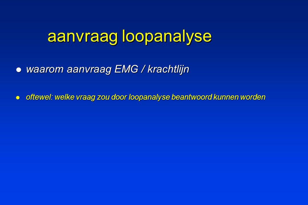 aanvraag loopanalyse waarom aanvraag EMG / krachtlijn waarom aanvraag EMG / krachtlijn oftewel: welke vraag zou door loopanalyse beantwoord kunnen wor