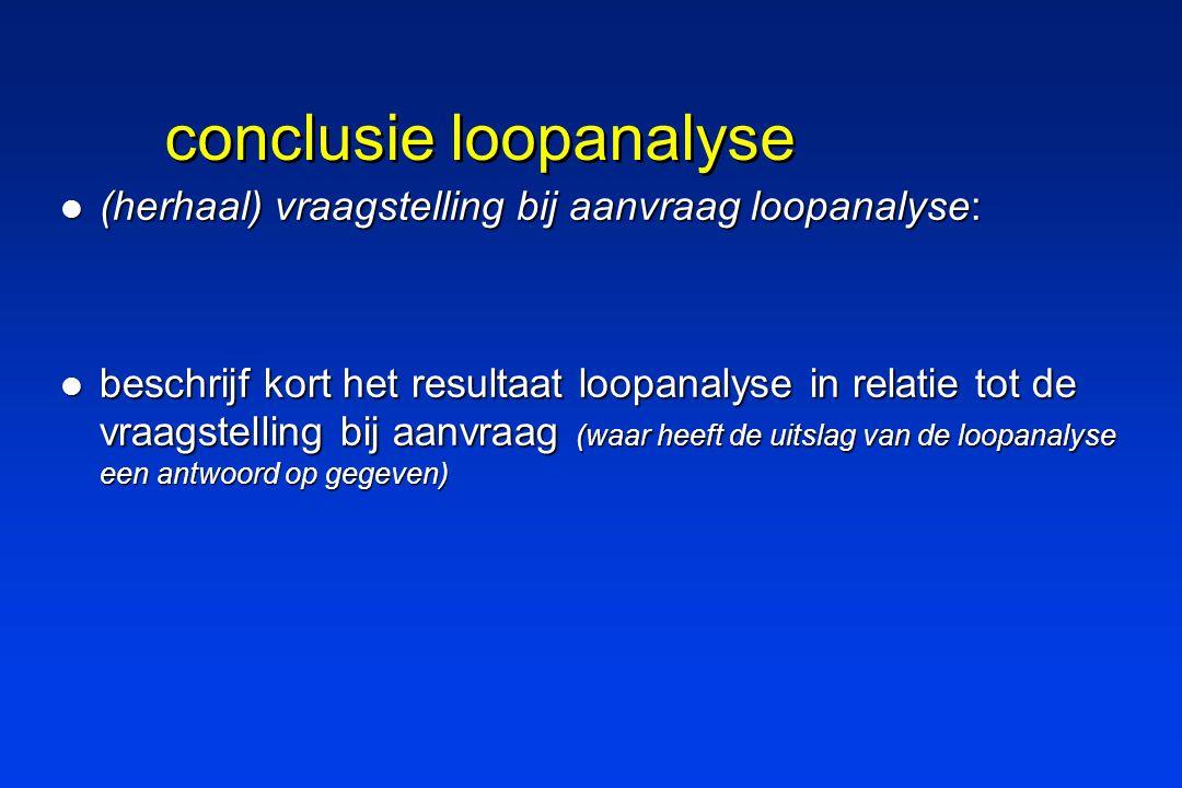conclusie loopanalyse (herhaal) vraagstelling bij aanvraag loopanalyse: (herhaal) vraagstelling bij aanvraag loopanalyse: beschrijf kort het resultaat