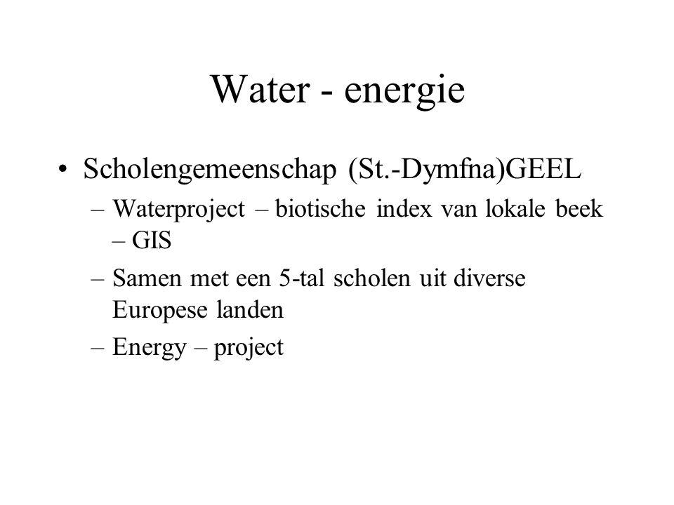 Water - energie Scholengemeenschap (St.-Dymfna)GEEL –Waterproject – biotische index van lokale beek – GIS –Samen met een 5-tal scholen uit diverse Eur