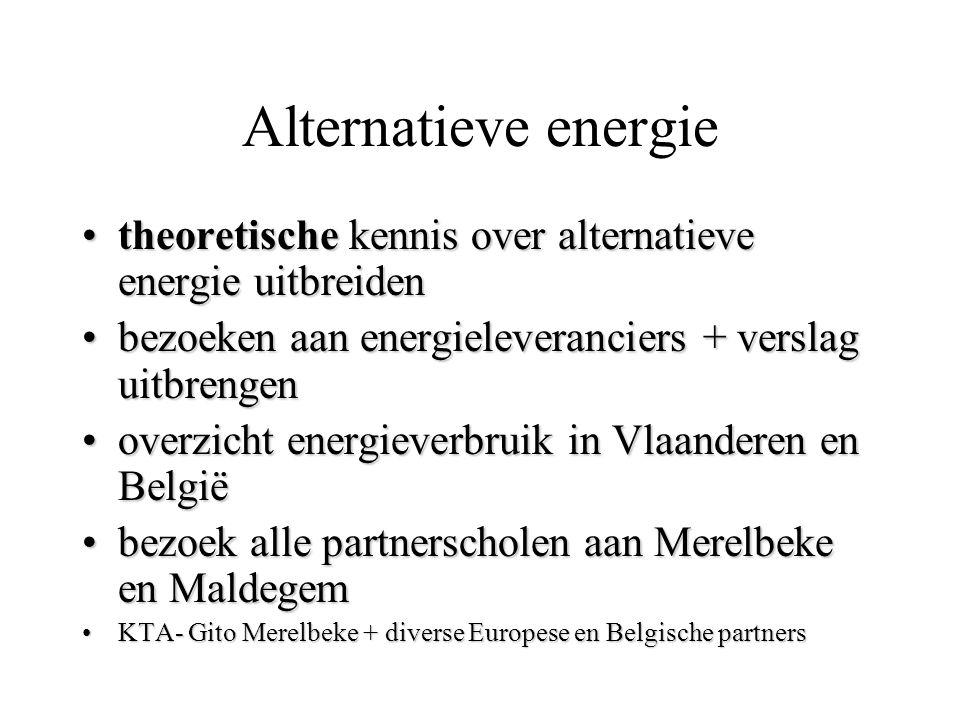 Alternatieve energie theoretische kennis over alternatieve energie uitbreidentheoretische kennis over alternatieve energie uitbreiden bezoeken aan ene