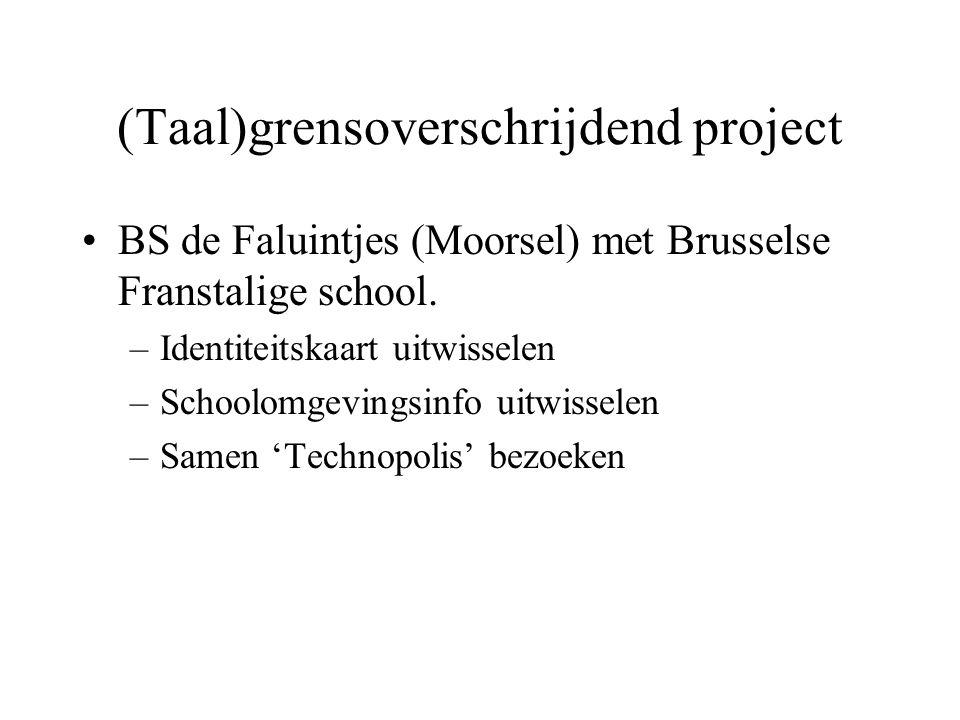 (Taal)grensoverschrijdend project BS de Faluintjes (Moorsel) met Brusselse Franstalige school. –Identiteitskaart uitwisselen –Schoolomgevingsinfo uitw