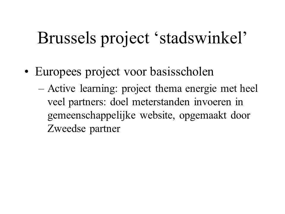 Brussels project 'stadswinkel' Europees project voor basisscholen –Active learning: project thema energie met heel veel partners: doel meterstanden in