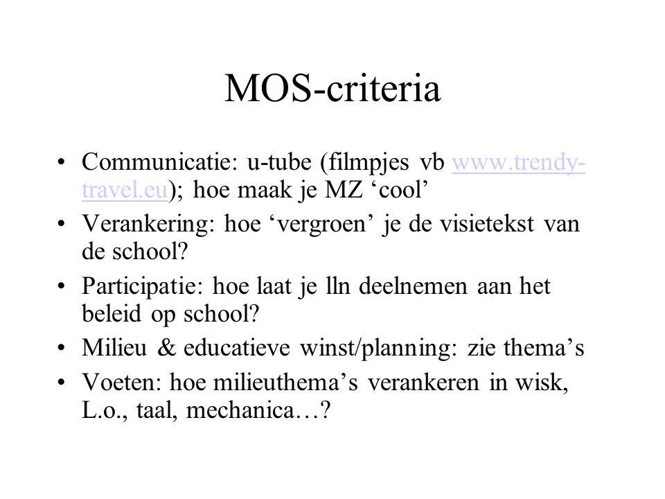 MOS-criteria Communicatie: u-tube (filmpjes vb www.trendy- travel.eu); hoe maak je MZ 'cool'www.trendy- travel.eu Verankering: hoe 'vergroen' je de vi