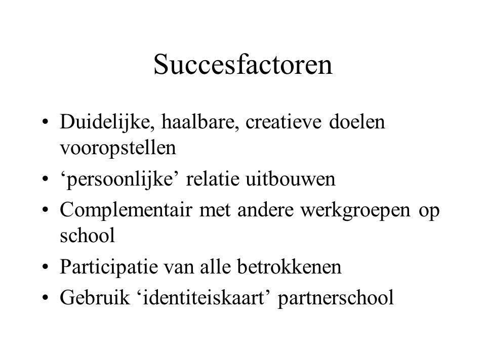 Succesfactoren Duidelijke, haalbare, creatieve doelen vooropstellen 'persoonlijke' relatie uitbouwen Complementair met andere werkgroepen op school Pa