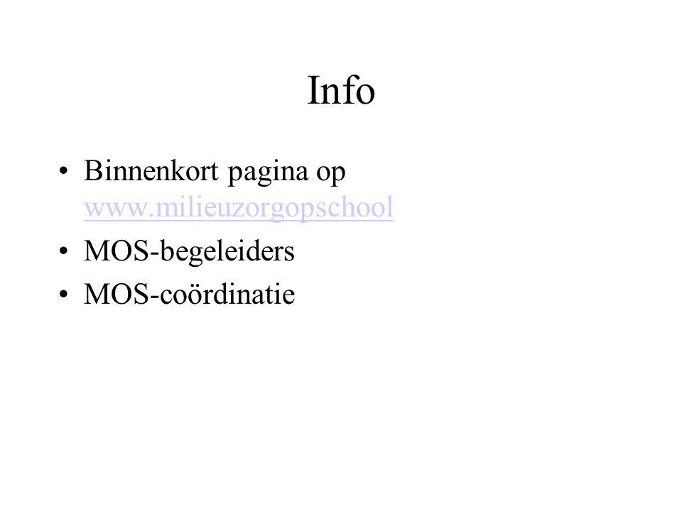 Info Binnenkort pagina op www.milieuzorgopschool www.milieuzorgopschool MOS-begeleiders MOS-coördinatie