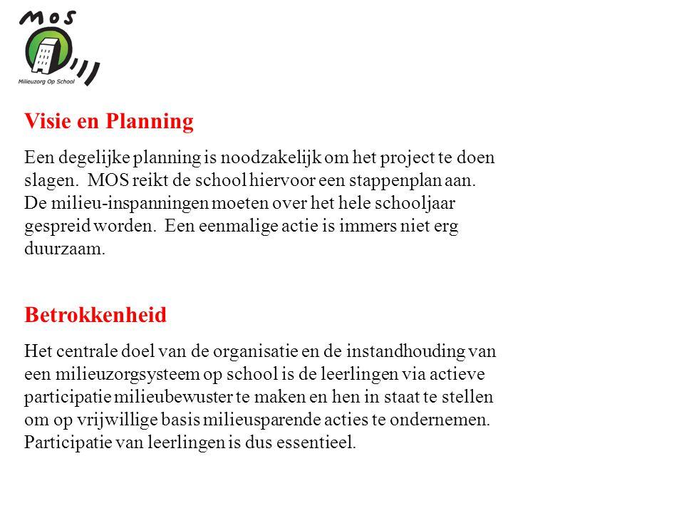Visie en Planning Een degelijke planning is noodzakelijk om het project te doen slagen. MOS reikt de school hiervoor een stappenplan aan. De milieu-in