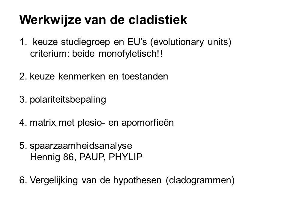 Werkwijze van de cladistiek 1. keuze studiegroep en EU's (evolutionary units) criterium: beide monofyletisch!! 2. keuze kenmerken en toestanden 3. pol