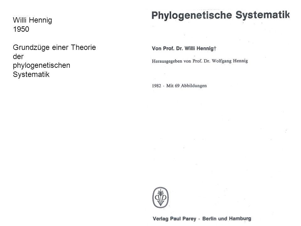 Willi Hennig 1950 Grundzüge einer Theorie der phylogenetischen Systematik