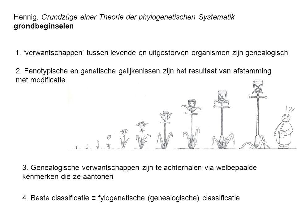 Hennig, Grundzüge einer Theorie der phylogenetischen Systematik grondbeginselen 1. 'verwantschappen' tussen levende en uitgestorven organismen zijn ge
