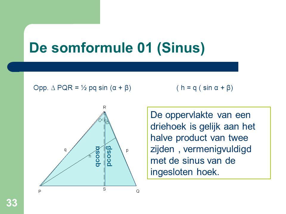33 De somformule 01 (Sinus) Opp. ∆ PQR = ½ pq sin (α + β)( h = q ( sin α + β) De oppervlakte van een driehoek is gelijk aan het halve product van twee