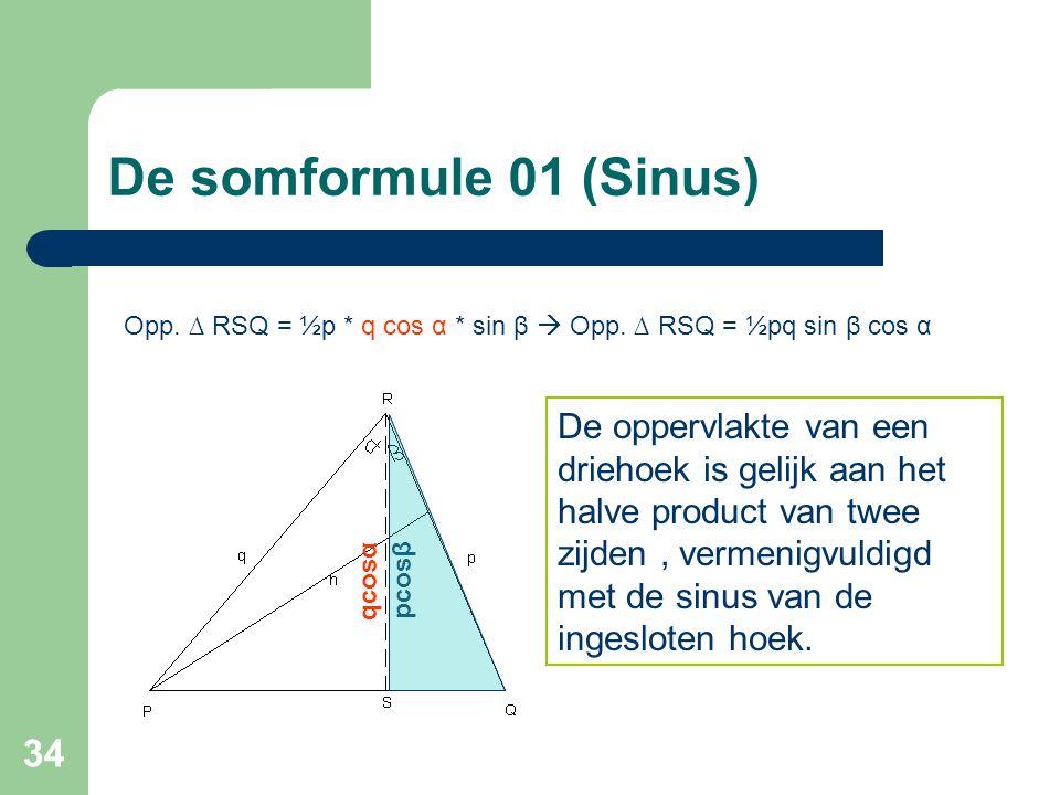 34 De somformule 01 (Sinus) Opp. ∆ RSQ = ½p * q cos α * sin β  Opp. ∆ RSQ = ½pq sin β cos α De oppervlakte van een driehoek is gelijk aan het halve p