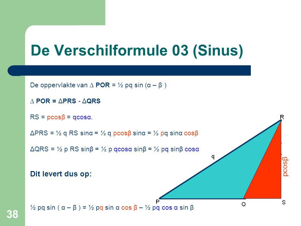 38 De oppervlakte van ∆ POR = ½ pq sin (α – β ) ∆ POR = ΔPRS - ΔQRS RS = pcosβ = qcosα. ΔPRS = ½ q RS sin α = ½ q pcosβ sinα = ½ pq sinα cosβ ΔQRS = ½