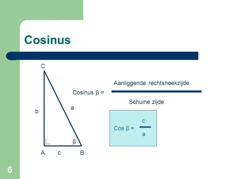 7 Cosinus Tangens β = Overstaande rechtshoekzijde Aanliggende rechtshoekzijde β b a cAB C Tan β = b c