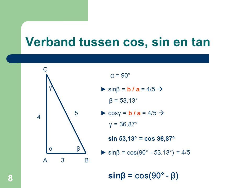 9 Verband tussen cos, sin en tan β 4 5 3AB C γ α α = 90° ► cosβ = c / a = 3/5  β = 53,13° ► sin γ = c / a = 3/5  γ = 36,87° ► cosβ = sin(90° - 53,13°) = 3/5 cosβ = sin(90° - β) cos 53,13° = sin 36,87°
